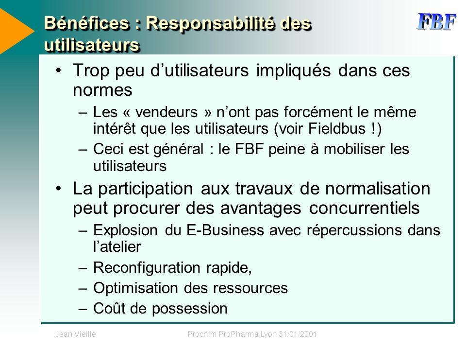 Jean VieilleProchim ProPharma Lyon 31/01/2001 Bénéfices : Responsabilité des utilisateurs Trop peu dutilisateurs impliqués dans ces normes –Les « vend