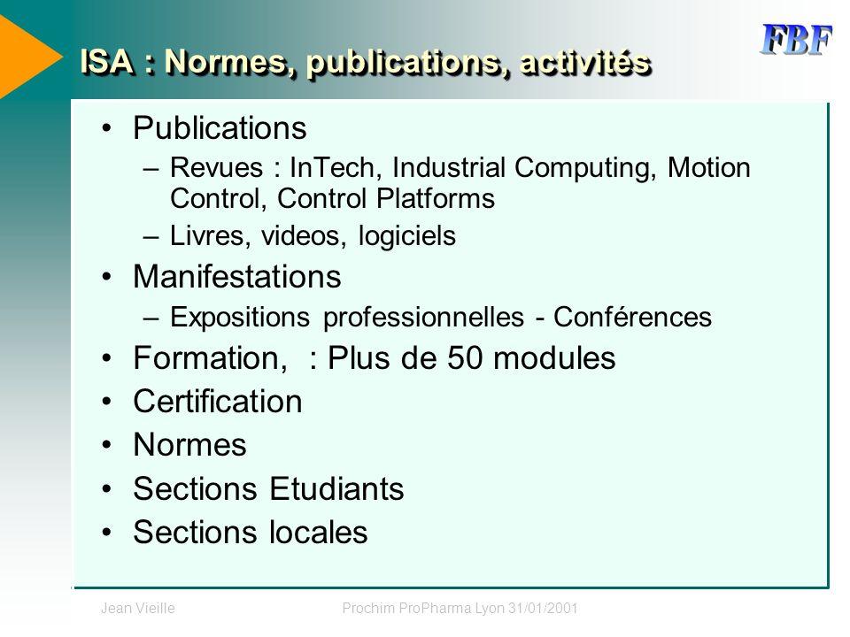 Jean VieilleProchim ProPharma Lyon 31/01/2001 ISA : Normes, publications, activités Publications –Revues : InTech, Industrial Computing, Motion Contro
