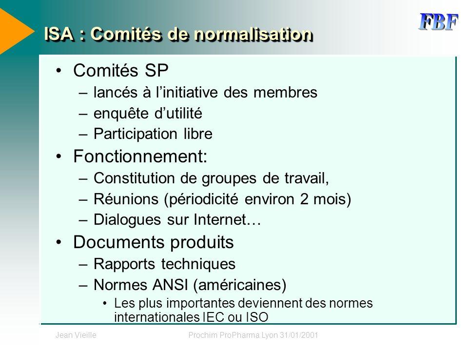 Jean VieilleProchim ProPharma Lyon 31/01/2001 ISA : Comités de normalisation Comités SP –lancés à linitiative des membres –enquête dutilité –Participa