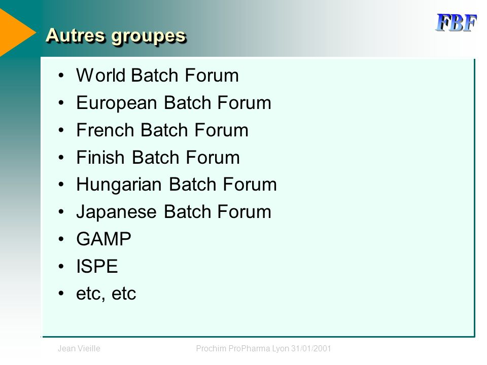 Jean VieilleProchim ProPharma Lyon 31/01/2001 Autres groupes World Batch Forum European Batch Forum French Batch Forum Finish Batch Forum Hungarian Ba