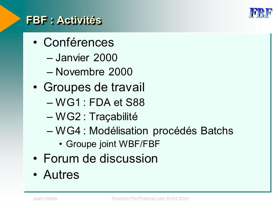 Jean VieilleProchim ProPharma Lyon 31/01/2001 FBF : Activités Conférences –Janvier 2000 –Novembre 2000 Groupes de travail –WG1 : FDA et S88 –WG2 : Tra