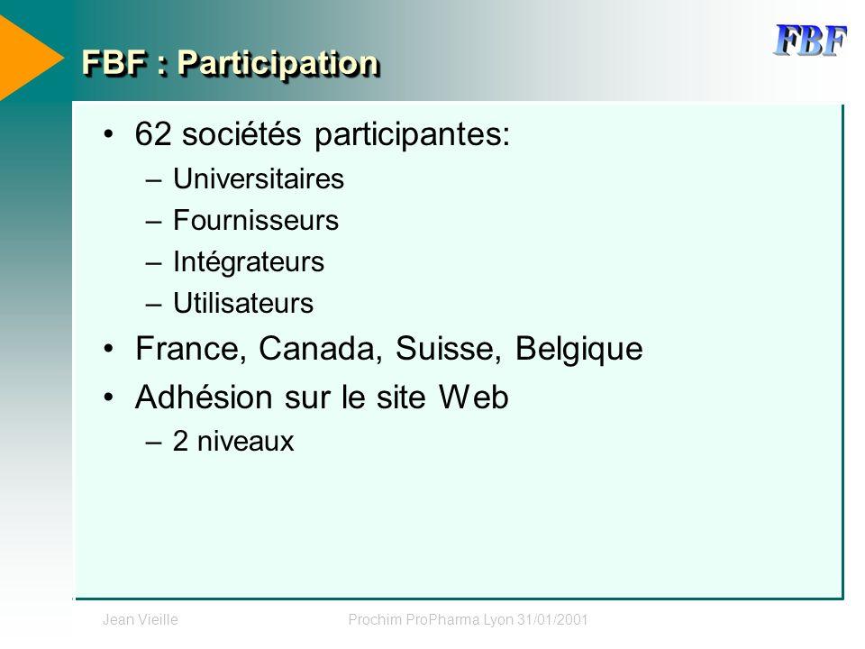 Jean VieilleProchim ProPharma Lyon 31/01/2001 FBF : Participation 62 sociétés participantes: –Universitaires –Fournisseurs –Intégrateurs –Utilisateurs