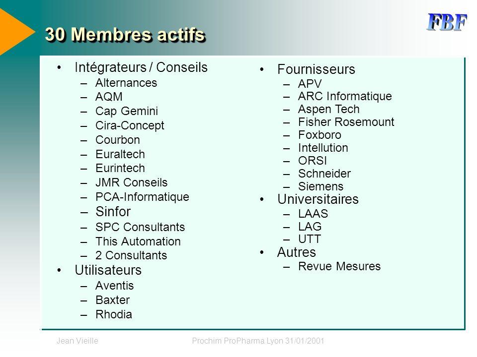 Jean VieilleProchim ProPharma Lyon 31/01/2001 30 Membres actifs Intégrateurs / Conseils –Alternances –AQM –Cap Gemini –Cira-Concept –Courbon –Euraltec