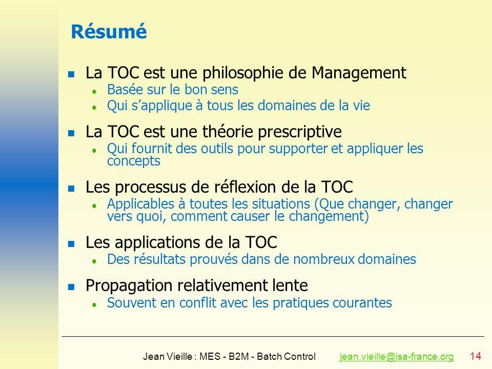 14 Jean Vieille : MES - B2M - Batch Controljean.vieille@isa-france.orgjean.vieille@isa-france.org Résumé n La TOC est une philosophie de Management l
