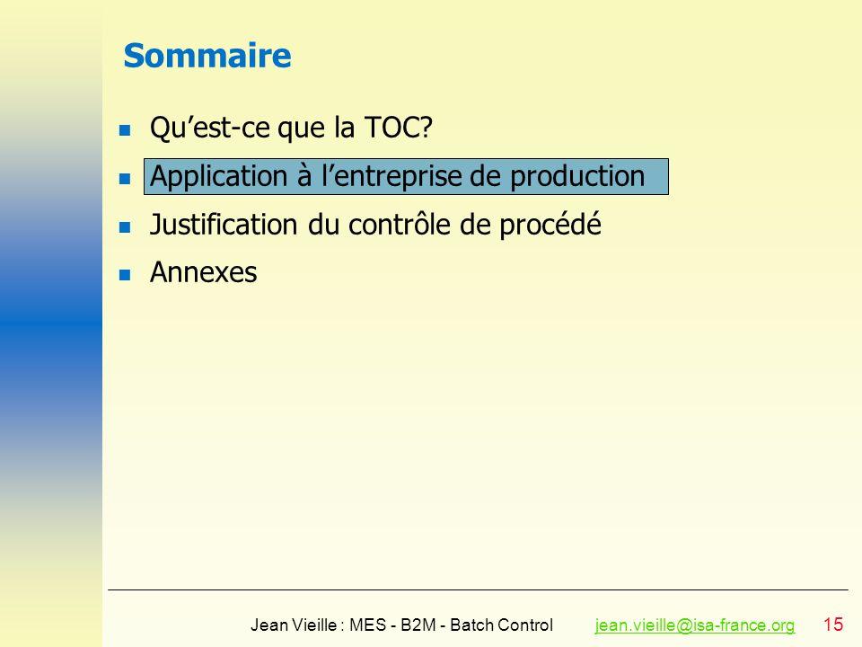 15 Jean Vieille : MES - B2M - Batch Controljean.vieille@isa-france.orgjean.vieille@isa-france.org Sommaire n Quest-ce que la TOC? n Application à lent