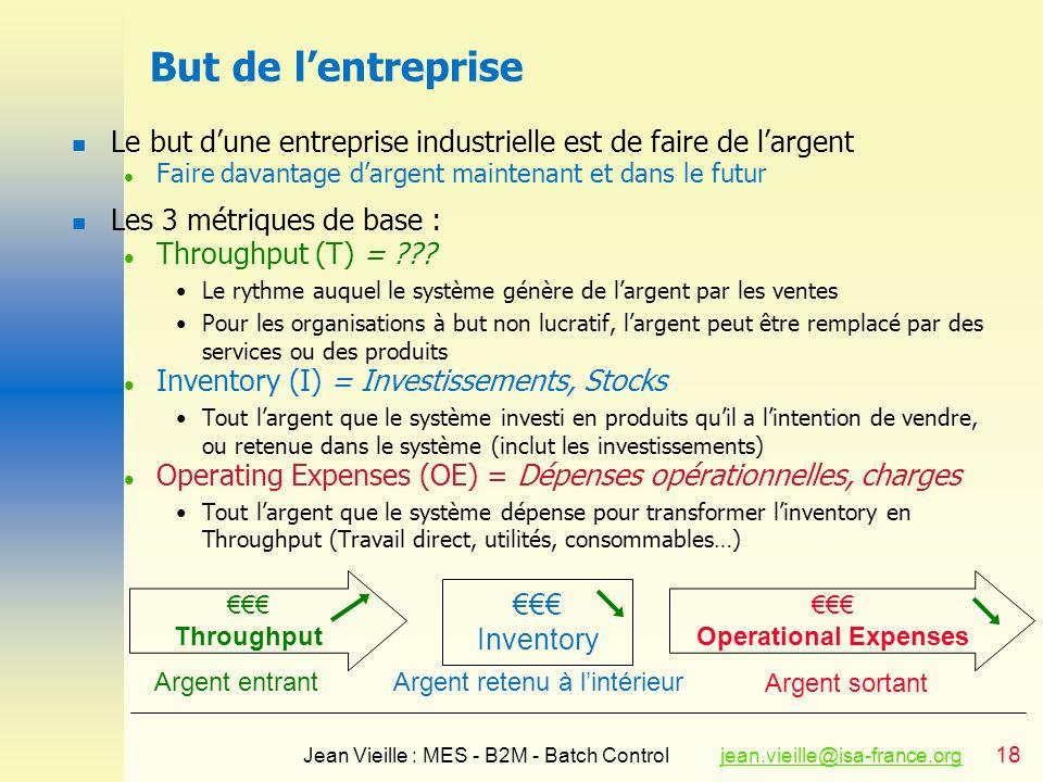 18 Jean Vieille : MES - B2M - Batch Controljean.vieille@isa-france.orgjean.vieille@isa-france.org But de lentreprise n Le but dune entreprise industri