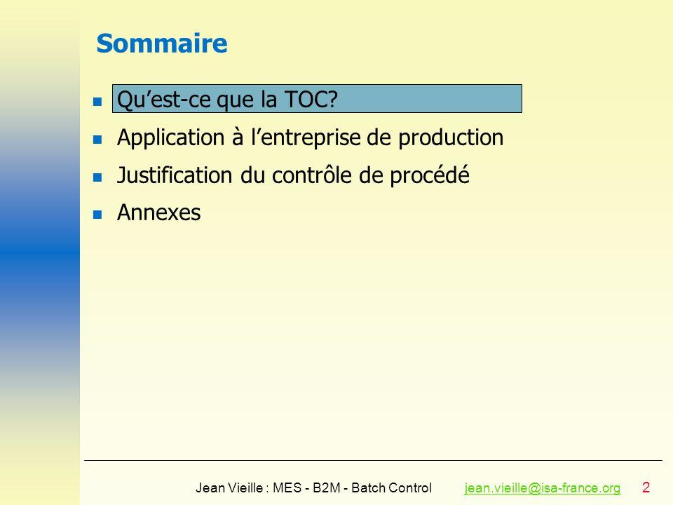 23 Jean Vieille : MES - B2M - Batch Controljean.vieille@isa-france.orgjean.vieille@isa-france.org Analyse des Effets indésirables (UDE) CatPilote de gestionCatUDE Système Contrôle TUtilisation matièresIVoir (3, 11) TTemps changement produits T, OE (1)Durée dadaptation du système TTemps de mise sur le marché de nouveaux produits T, OE T, OE, I T, OE (2)Durée dévelop.