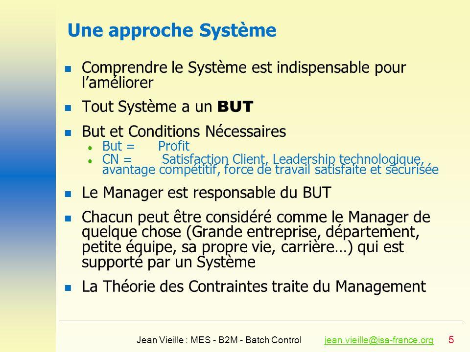 5 Jean Vieille : MES - B2M - Batch Controljean.vieille@isa-france.orgjean.vieille@isa-france.org Une approche Système n Comprendre le Système est indi