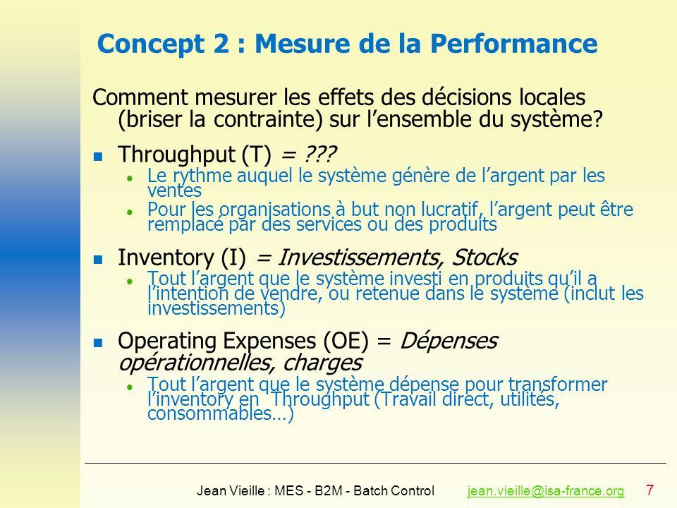 7 Jean Vieille : MES - B2M - Batch Controljean.vieille@isa-france.orgjean.vieille@isa-france.org Concept 2 : Mesure de la Performance Comment mesurer