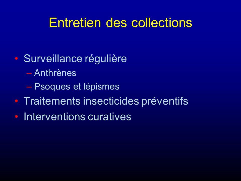 Entretien des collections Surveillance régulière –Anthrènes –Psoques et lépismes Traitements insecticides préventifs Interventions curatives
