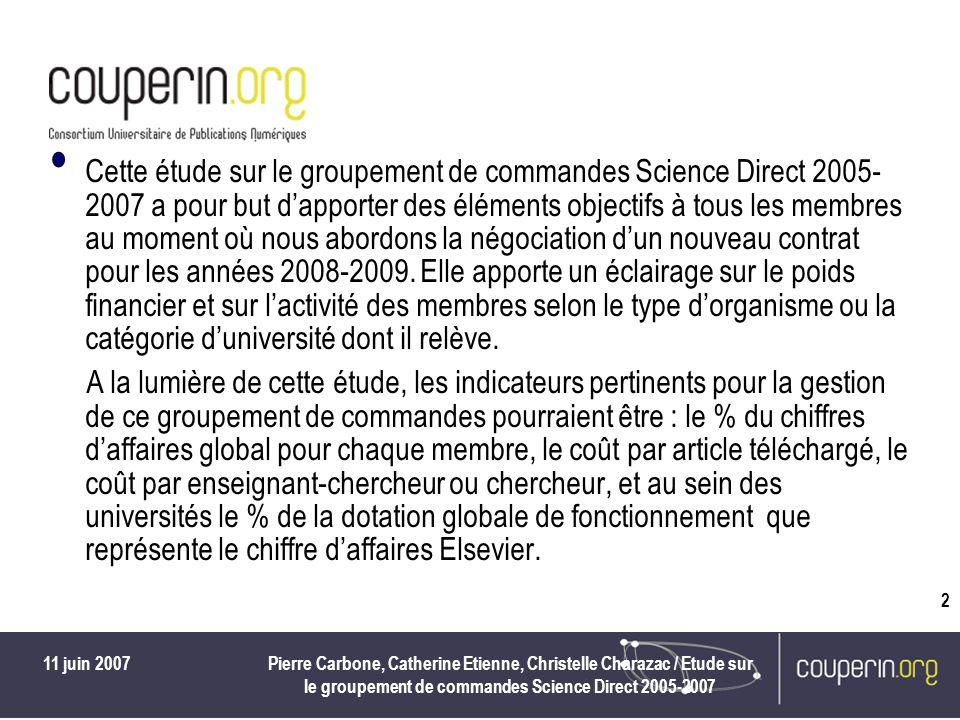 11 juin 2007Pierre Carbone, Catherine Etienne, Christelle Charazac / Etude sur le groupement de commandes Science Direct 2005-2007 2 Cette étude sur le groupement de commandes Science Direct 2005- 2007 a pour but dapporter des éléments objectifs à tous les membres au moment où nous abordons la négociation dun nouveau contrat pour les années 2008-2009.