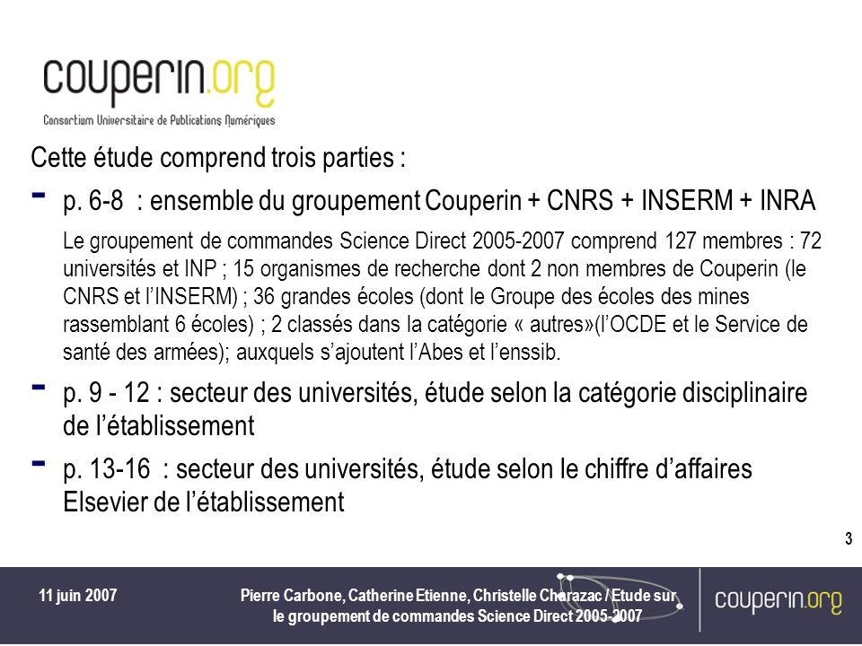 11 juin 2007Pierre Carbone, Catherine Etienne, Christelle Charazac / Etude sur le groupement de commandes Science Direct 2005-2007 3 Cette étude comprend trois parties : - p.