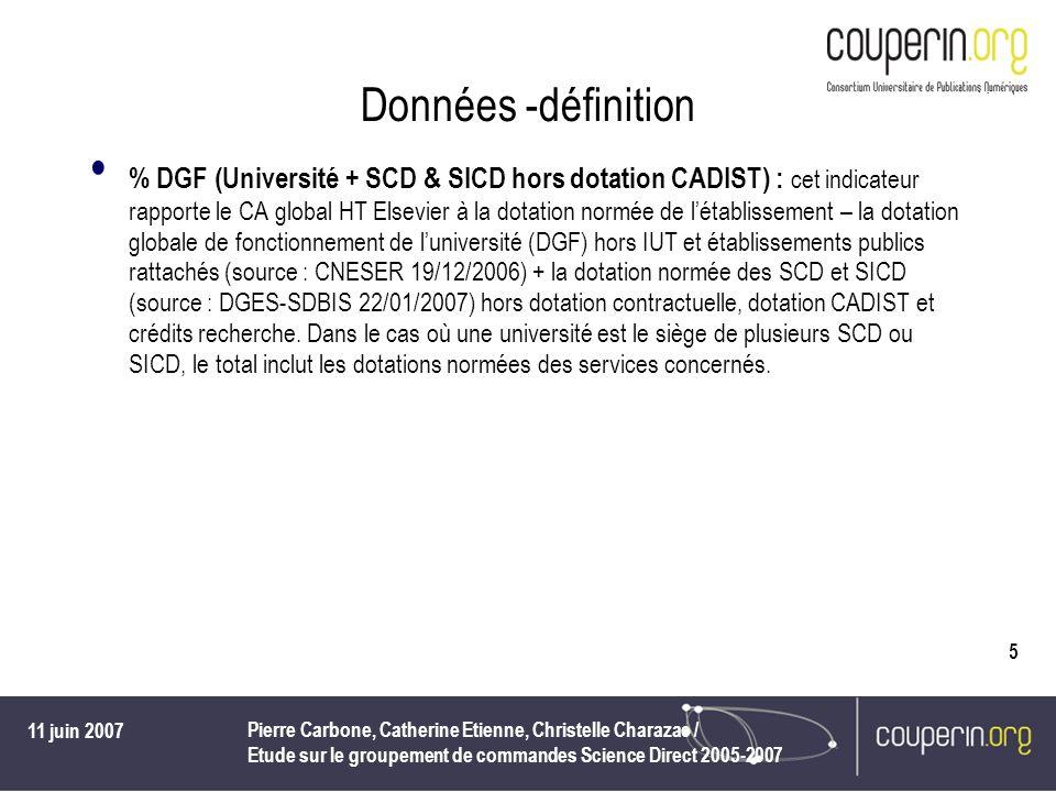 11 juin 2007 Pierre Carbone, Catherine Etienne, Christelle Charazac / Etude sur le groupement de commandes Science Direct 2005-2007 5 Données -définit