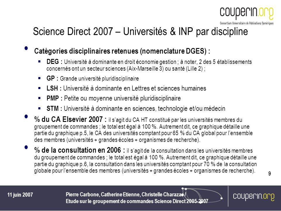 11 juin 2007 Pierre Carbone, Catherine Etienne, Christelle Charazac / Etude sur le groupement de commandes Science Direct 2005-2007 10 Science Direct 2007 – Universités & INP par discipline