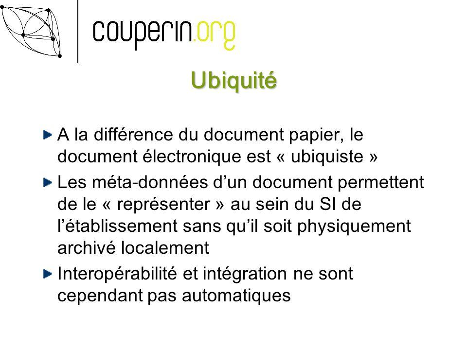 Ubiquité A la différence du document papier, le document électronique est « ubiquiste » Les méta-données dun document permettent de le « représenter » au sein du SI de létablissement sans quil soit physiquement archivé localement Interopérabilité et intégration ne sont cependant pas automatiques