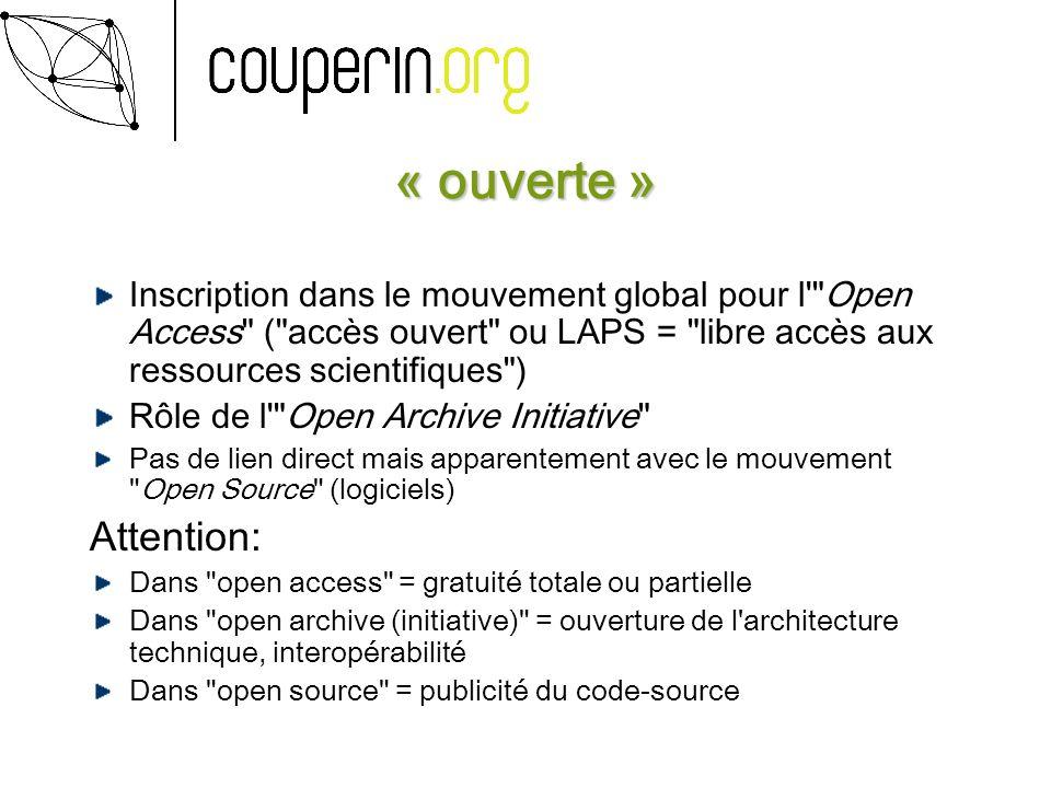 « ouverte » Inscription dans le mouvement global pour l'