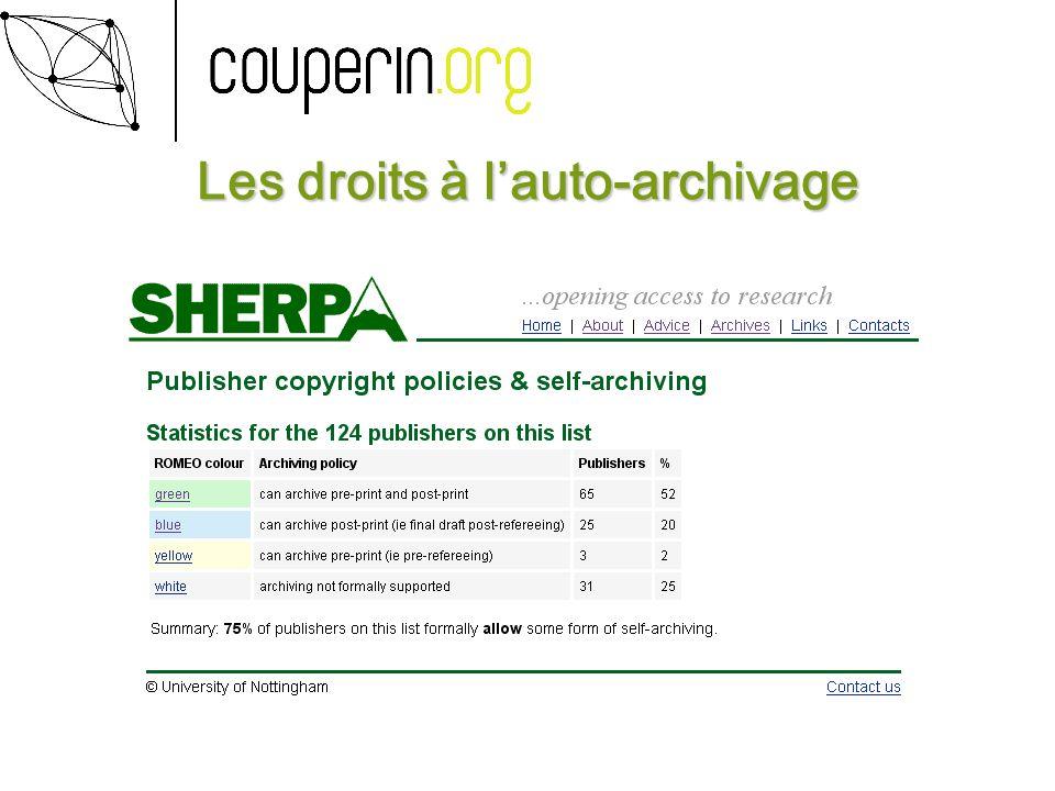 Les droits à lauto-archivage