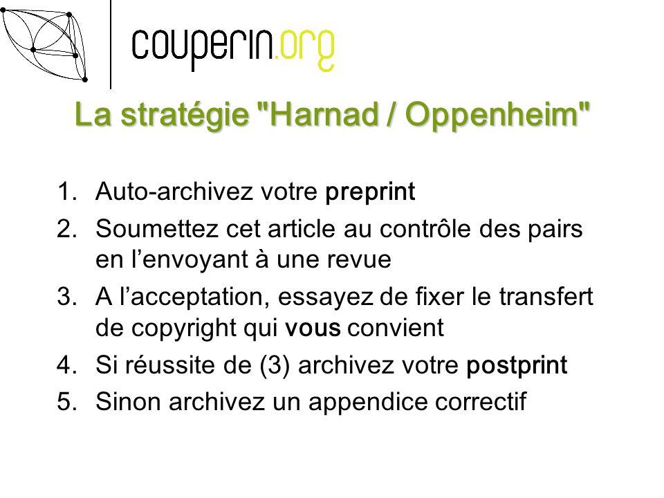 La stratégie Harnad / Oppenheim 1.Auto-archivez votre preprint 2.Soumettez cet article au contrôle des pairs en lenvoyant à une revue 3.A lacceptation, essayez de fixer le transfert de copyright qui vous convient 4.Si réussite de (3) archivez votre postprint 5.Sinon archivez un appendice correctif