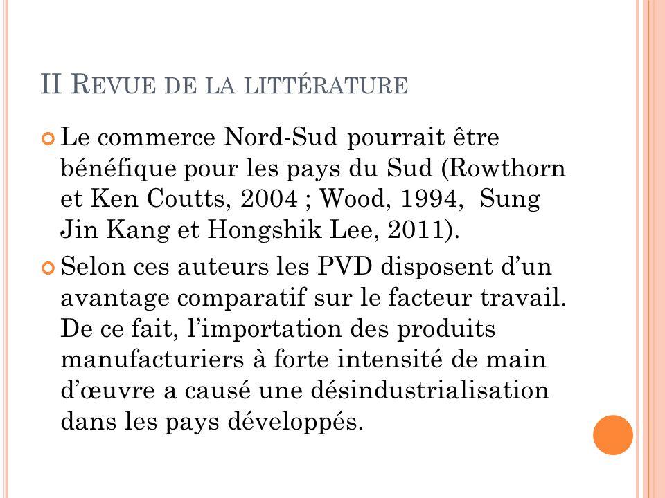 II R EVUE DE LA LITTÉRATURE Le commerce Nord-Sud pourrait être bénéfique pour les pays du Sud (Rowthorn et Ken Coutts, 2004 ; Wood, 1994, Sung Jin Kang et Hongshik Lee, 2011).