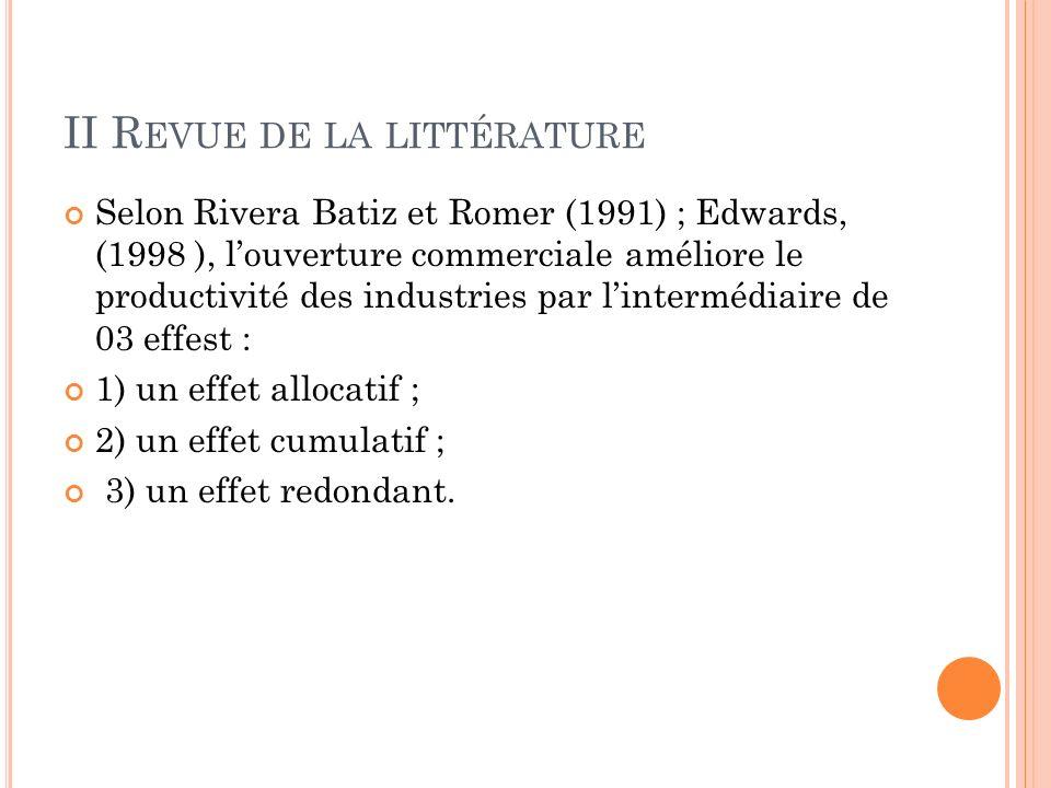 II R EVUE DE LA LITTÉRATURE Selon Rivera Batiz et Romer (1991) ; Edwards, (1998 ), louverture commerciale améliore le productivité des industries par lintermédiaire de 03 effest : 1) un effet allocatif ; 2) un effet cumulatif ; 3) un effet redondant.