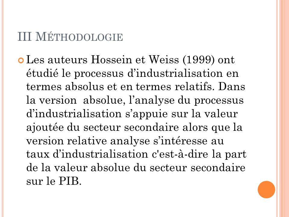 III M ÉTHODOLOGIE Les auteurs Hossein et Weiss (1999) ont étudié le processus dindustrialisation en termes absolus et en termes relatifs.