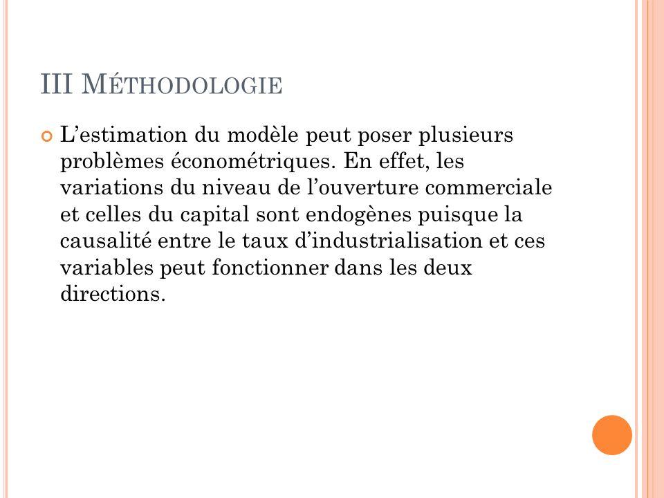 III M ÉTHODOLOGIE Lestimation du modèle peut poser plusieurs problèmes économétriques.