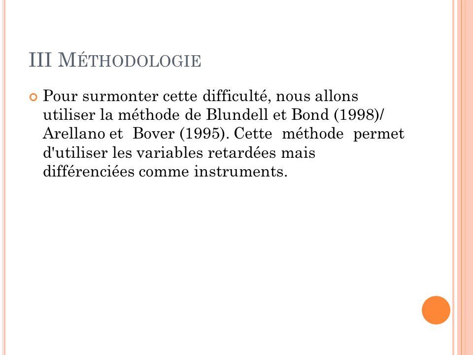 III M ÉTHODOLOGIE Pour surmonter cette difficulté, nous allons utiliser la méthode de Blundell et Bond (1998)/ Arellano et Bover (1995).