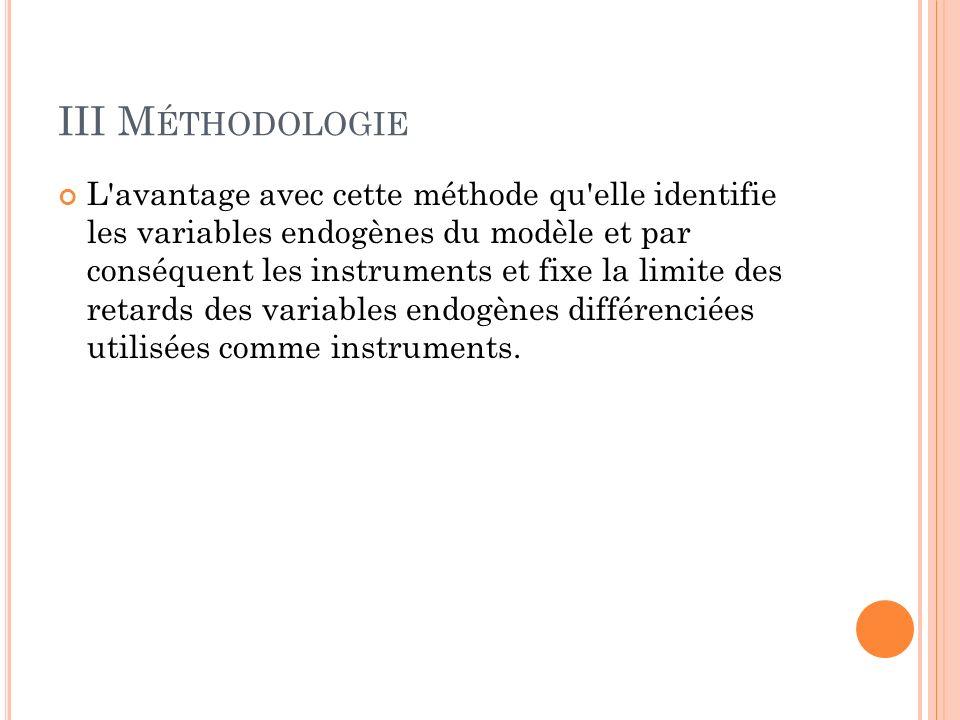 III M ÉTHODOLOGIE L avantage avec cette méthode qu elle identifie les variables endogènes du modèle et par conséquent les instruments et fixe la limite des retards des variables endogènes différenciées utilisées comme instruments.