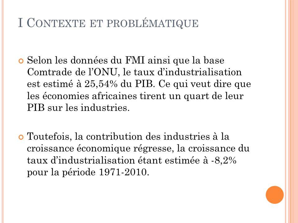 I C ONTEXTE ET PROBLÉMATIQUE Selon les données du FMI ainsi que la base Comtrade de lONU, le taux dindustrialisation est estimé à 25,54% du PIB.