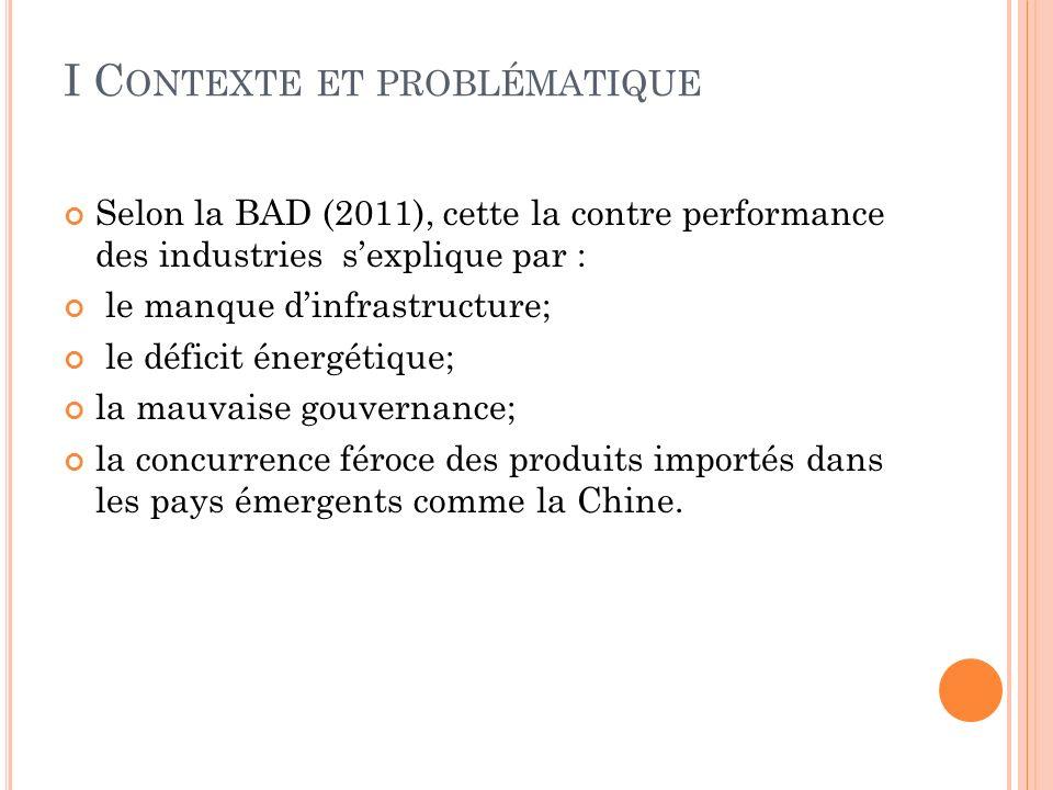 I C ONTEXTE ET PROBLÉMATIQUE Selon la BAD (2011), cette la contre performance des industries sexplique par : le manque dinfrastructure; le déficit énergétique; la mauvaise gouvernance; la concurrence féroce des produits importés dans les pays émergents comme la Chine.