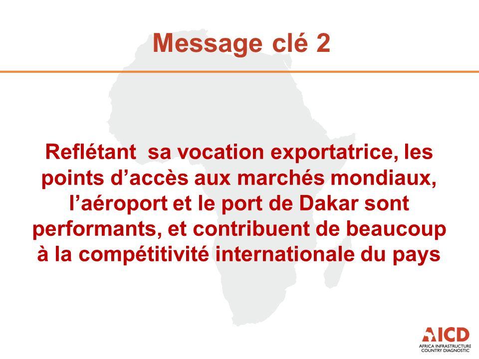 Message clé 2 Reflétant sa vocation exportatrice, les points daccès aux marchés mondiaux, laéroport et le port de Dakar sont performants, et contribuent de beaucoup à la compétitivité internationale du pays