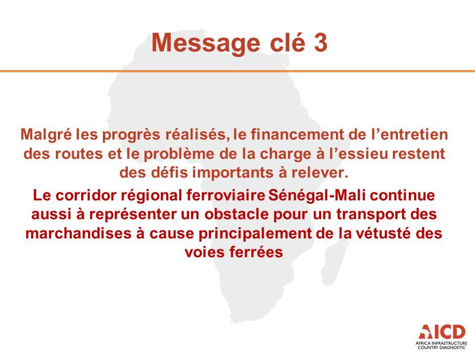 Message clé 3 Malgré les progrès réalisés, le financement de lentretien des routes et le problème de la charge à lessieu restent des défis importants à relever.