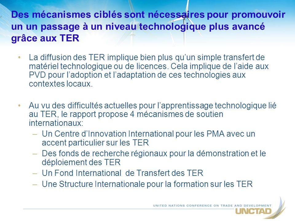 Des mécanismes ciblés sont nécessaires pour promouvoir un un passage à un niveau technologique plus avancé grâce aux TER La diffusion des TER implique bien plus quun simple transfert de matériel technologique ou de licences.