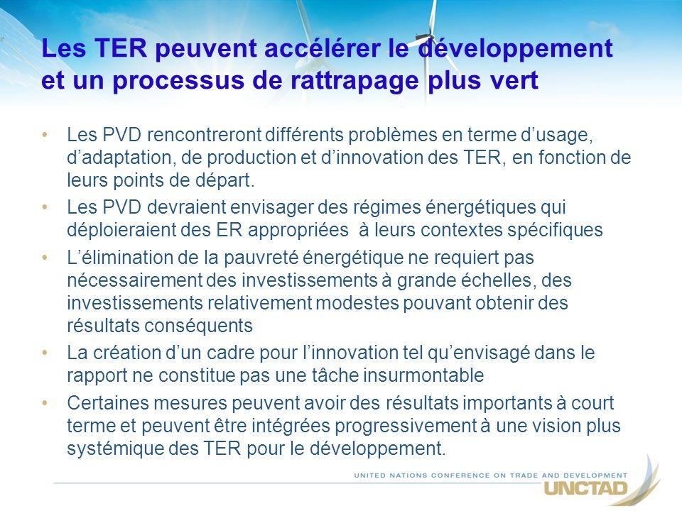 Les TER peuvent accélérer le développement et un processus de rattrapage plus vert Les PVD rencontreront différents problèmes en terme dusage, dadaptation, de production et dinnovation des TER, en fonction de leurs points de départ.