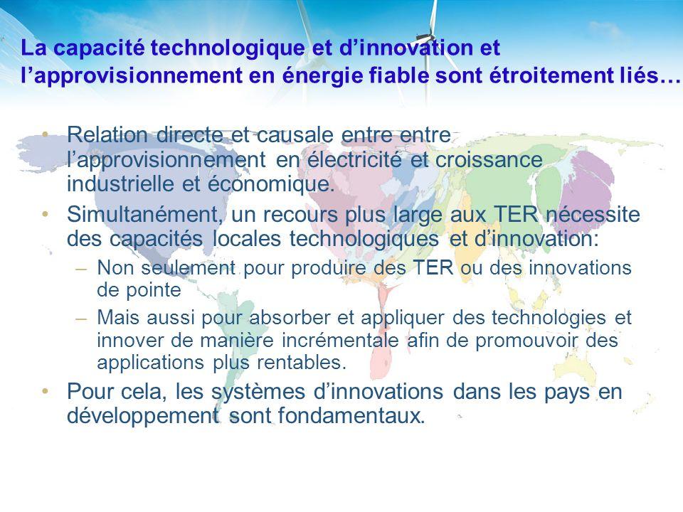 La capacité technologique et dinnovation et lapprovisionnement en énergie fiable sont étroitement liés… Relation directe et causale entre entre lapprovisionnement en électricité et croissance industrielle et économique.