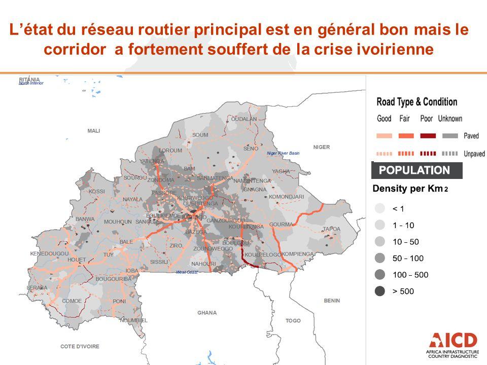 Létat du réseau routier principal est en général bon mais le corridor a fortement souffert de la crise ivoirienne