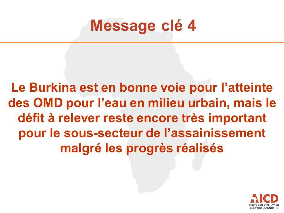 Message clé 4 Le Burkina est en bonne voie pour latteinte des OMD pour leau en milieu urbain, mais le défit à relever reste encore très important pour