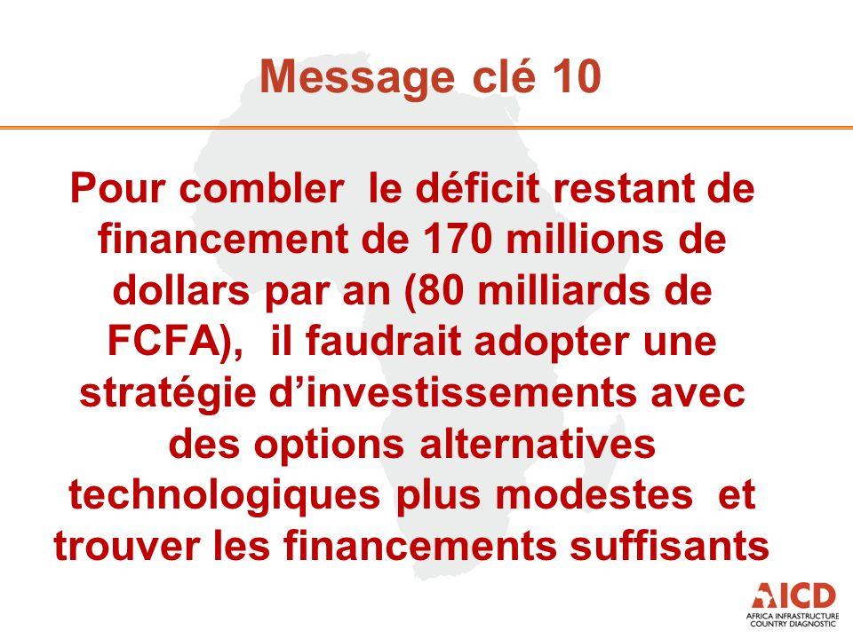 Message clé 10 Pour combler le déficit restant de financement de 170 millions de dollars par an (80 milliards de FCFA), il faudrait adopter une straté