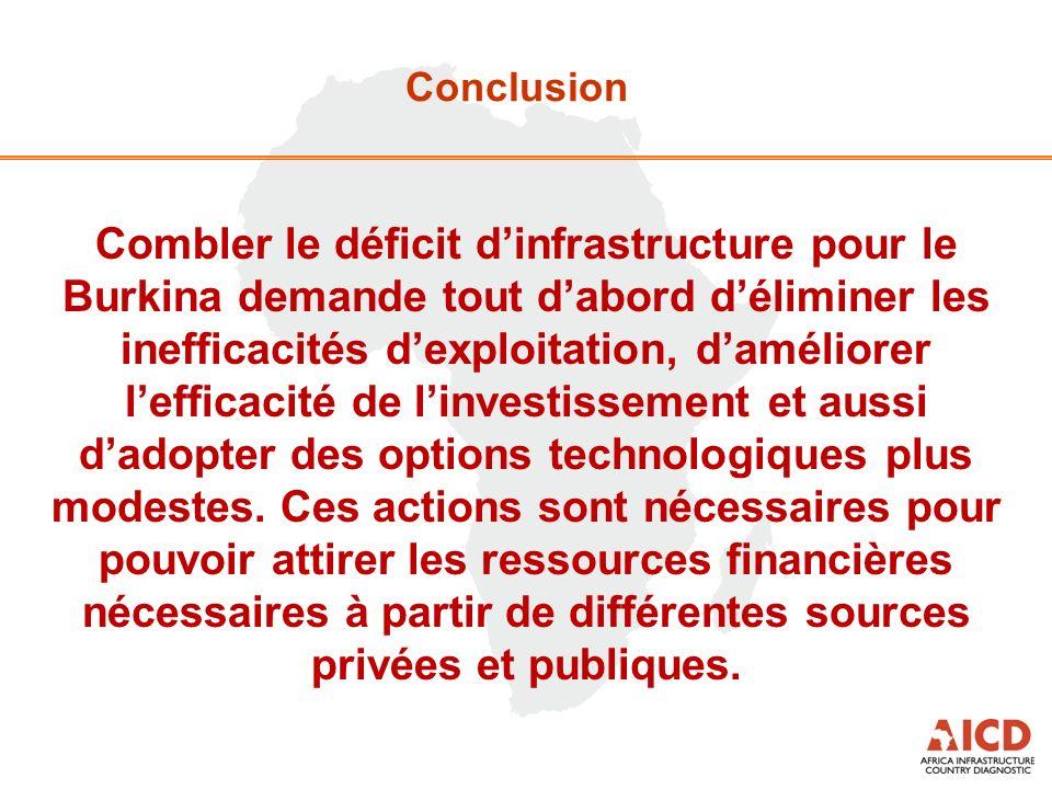 Conclusion Combler le déficit dinfrastructure pour le Burkina demande tout dabord déliminer les inefficacités dexploitation, daméliorer lefficacité de