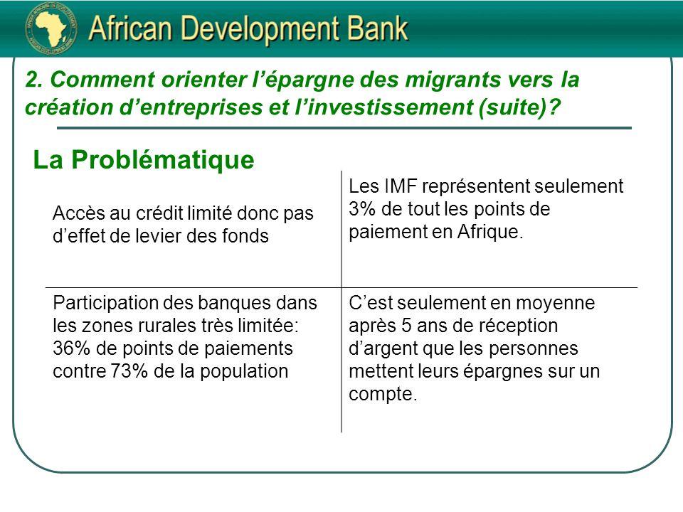 2. Comment orienter lépargne des migrants vers la création dentreprises et linvestissement (suite).