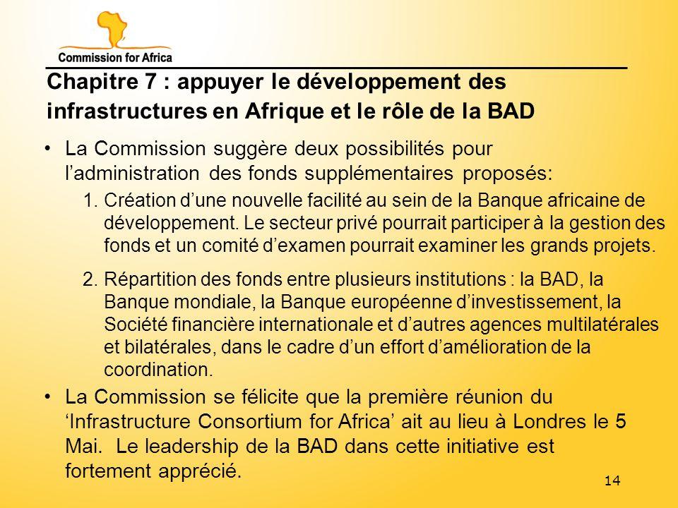 14 Chapitre 7 : appuyer le développement des infrastructures en Afrique et le rôle de la BAD La Commission suggère deux possibilités pour ladministration des fonds supplémentaires proposés: La Commission se félicite que la première réunion du Infrastructure Consortium for Africa ait au lieu à Londres le 5 Mai.