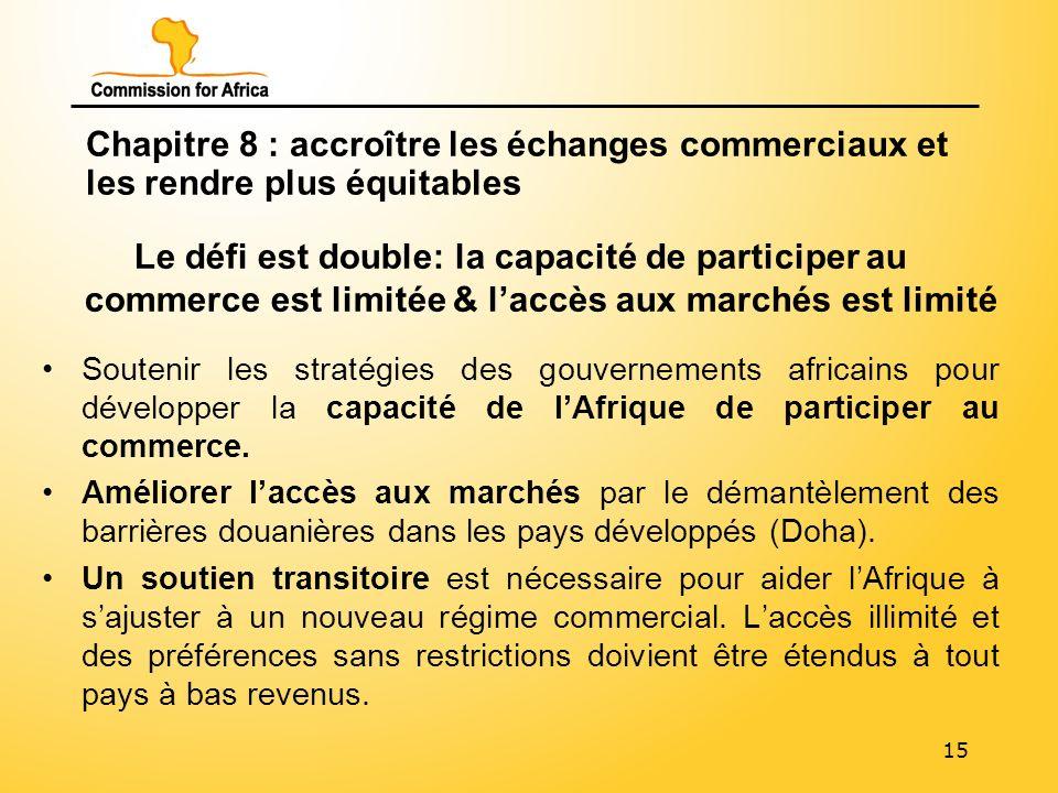 15 Chapitre 8 : accroître les échanges commerciaux et les rendre plus équitables Le défi est double: la capacité de participer au commerce est limitée & laccès aux marchés est limité Soutenir les stratégies des gouvernements africains pour développer la capacité de lAfrique de participer au commerce.