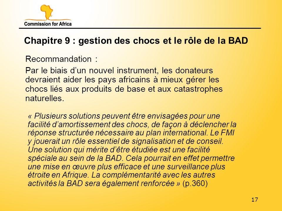 17 Chapitre 9 : gestion des chocs et le rôle de la BAD Recommandation : Par le biais dun nouvel instrument, les donateurs devraient aider les pays africains à mieux gérer les chocs liés aux produits de base et aux catastrophes naturelles.