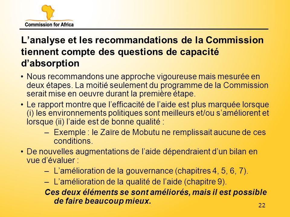 22 Lanalyse et les recommandations de la Commission tiennent compte des questions de capacité dabsorption Nous recommandons une approche vigoureuse mais mesurée en deux étapes.
