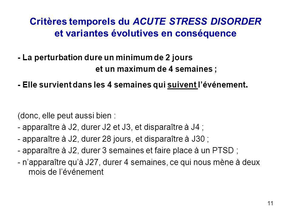 11 Critères temporels du ACUTE STRESS DISORDER et variantes évolutives en conséquence - La perturbation dure un minimum de 2 jours et un maximum de 4