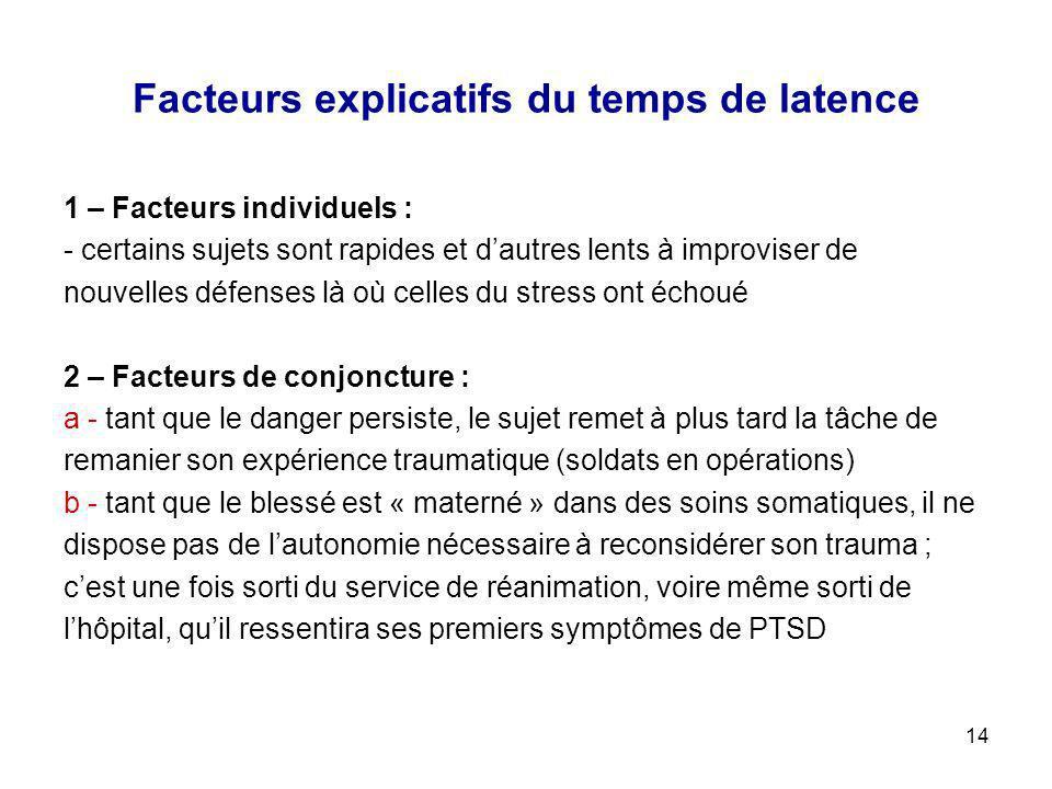 14 Facteurs explicatifs du temps de latence 1 – Facteurs individuels : - certains sujets sont rapides et dautres lents à improviser de nouvelles défen