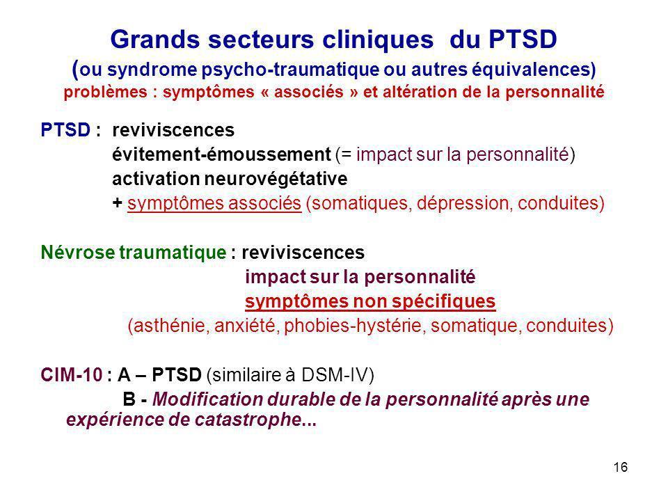 16 Grands secteurs cliniques du PTSD ( ou syndrome psycho-traumatique ou autres équivalences) problèmes : symptômes « associés » et altération de la p