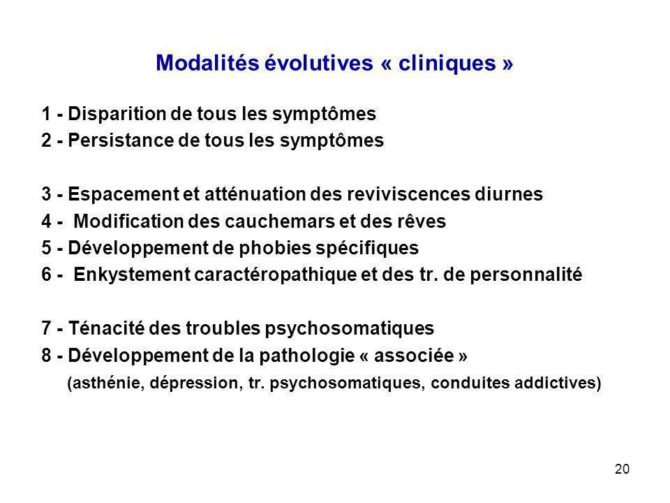 20 Modalités évolutives « cliniques » 1 - Disparition de tous les symptômes 2 - Persistance de tous les symptômes 3 - Espacement et atténuation des re