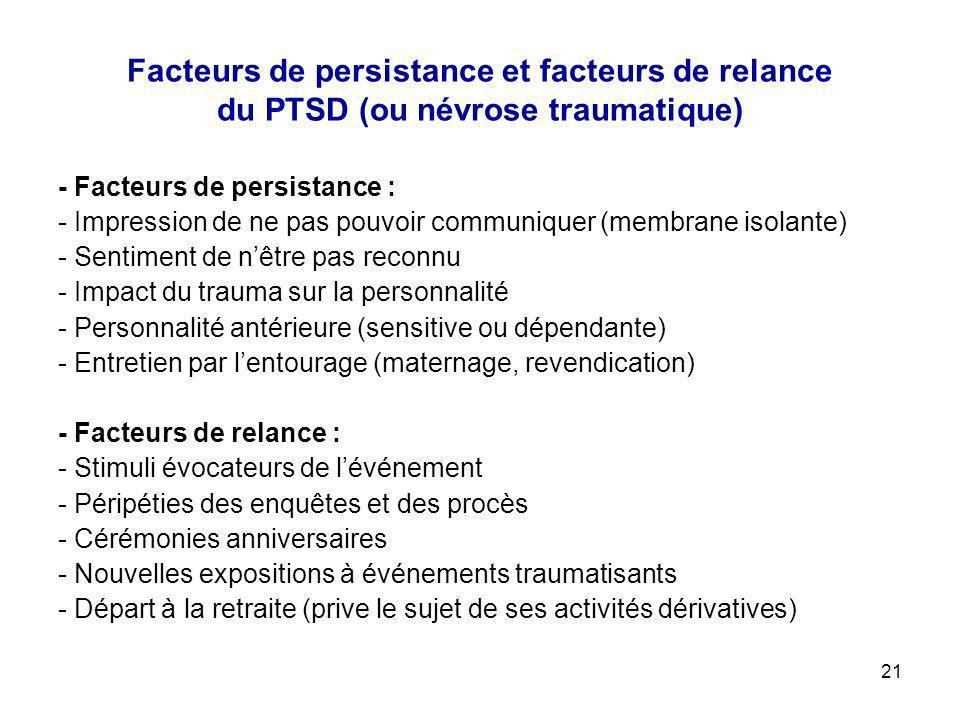 21 Facteurs de persistance et facteurs de relance du PTSD (ou névrose traumatique) - Facteurs de persistance : - Impression de ne pas pouvoir communiq