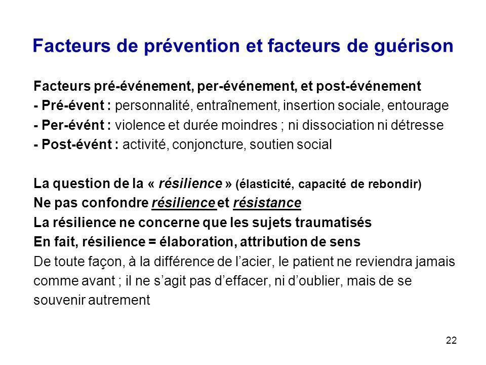 22 Facteurs de prévention et facteurs de guérison Facteurs pré-événement, per-événement, et post-événement - Pré-évent : personnalité, entraînement, i